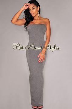 Gray Back Vent Strapless Maxi Dress