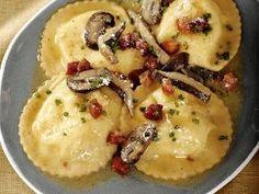Ricotta-Taleggio Ravioli with Wild Mushroom Sauce