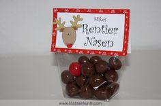 Reindeer Noses / Rentier Nasen. Die etwas andere Weihnachtskarte. Gefüllt mit Maltesers und M&Ms. YUMMYY!