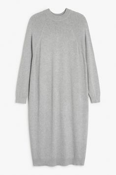 Monki Image 1 of Knit dress in Grey Light