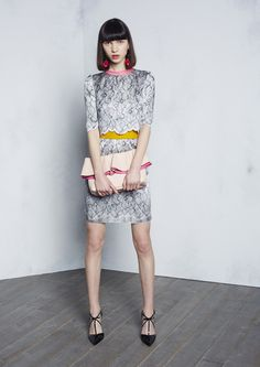 Paule Ka | Pre-Fall 2016 | 32 Grey printed short sleeve top and mini skirt