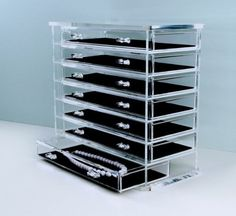 """Acrylic Deluxe 7-Drawer Jewelry Chest (Clear) (11 7/8""""H x 12 $96.99"""