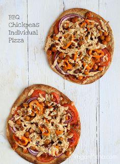 BBQ Chickpea individual Pizza. Vegan Recipe. Easily Glutenfree