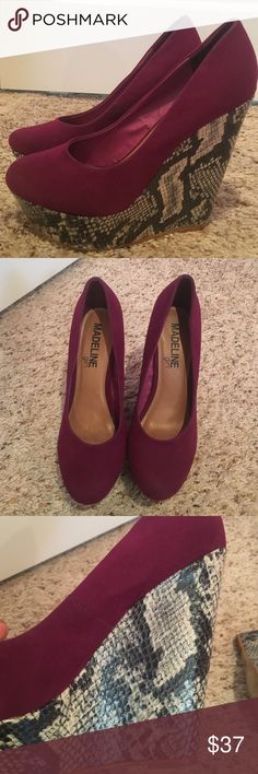 MADELINE girl shoes! MADELINE girl wedge heels! Dark purple suede at top with snake skin heel that has light sheen. They maybe have been worn once or twice. MADELINE girl Shoes Heels