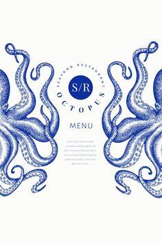 Octopus Colors, Octopus Design, Octopus Print, Typography Design, Logo Design, Graphic Design, Pretty Packaging, Packaging Design, Logo Samples