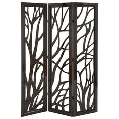Wood 3 Panel Screen 72 inchh, 48 inchw, Brown
