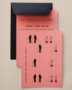 These save-the-dates have dance step basics on them so your guests will be ready to show off their moves at your reception