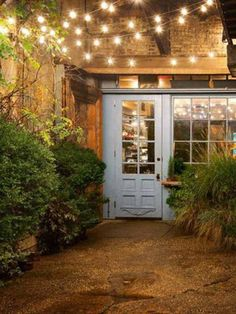 """24 Jaw Dropping Beautiful Yard and Patio String Lighting Ideas For a Small Heaven - """"Freemans"""" restaurant in NYC at the end of Freeman Alley, off Rivington, between The Bowery and Christie."""
