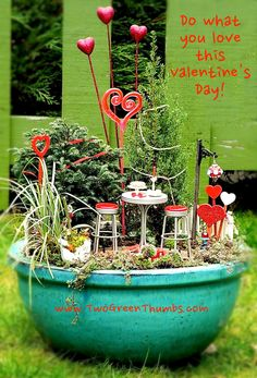 Valentine's Day in the Miniature Garden - http://www.shop.twogreenthumbs.com/Valentines-Day_c91.htm #miniaturegarden #valentinesday
