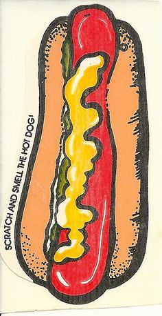 Vintage Mello Smello HOT DOG Scratch and Sniff Sticker. Food Truck Design, Food Design, Design Ideas, Best Food Trucks, Hot Dog Cart, Monster Truck Birthday, Dog Illustration, Chalk Art, Dog Art