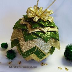 Quilted Fabric Christmas Ornament Pinecone by DelightfullyOrnament, $22.00