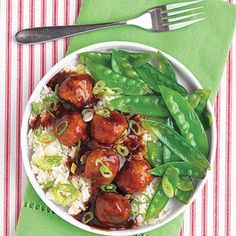 These slow cooker Tangy Asian meatballs are delicious served over rice with sautéed snow peas or bok choy.