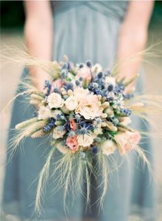 Lovely wedding flower bouquet and dress color