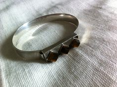 Modernist silver bracelet with tiger's eye. Veikko Veinio. Finland, 1962