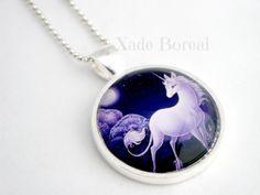 Lovely Unicorn glass pendant necklace
