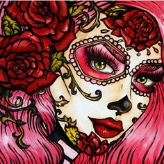 Red Roses-   Stretched Canvas Print  Rockabilly Pin Up Pink Hair Dia De Los Muertos  Lowbrow Tattoo art