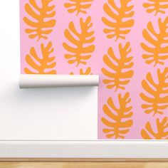 Tropical Wallpaper - Leaf Orange Blush By Pattyryboltdesigns - Tropical Custom Printed Removable Self Adhesive Wallpaper Roll by Spoonflower Self Adhesive Wallpaper, Wallpaper Roll, Peel And Stick Wallpaper, Orange Blush, Tropical Wallpaper, Drawer And Shelf Liners, Pattern Matching, Diy Hanging, Custom Wall