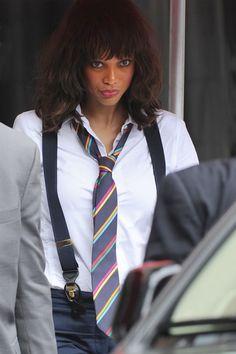 Tyra Banks in suspenders