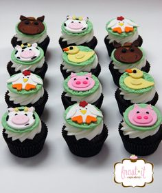 Fondant farm animal cupcake toppers farm birthday party farm animal fondant cupcake topper
