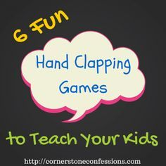 6 Fun Hand-Clapping Games to Teach Your Kids - Cornerstone Confessions Preschool Songs, Kids Songs, Music For Kids, Hand Clapping Games, Games To Play With Kids, Hand Games For Kids, Drama Games For Kids, Kids Fun, Playground Games