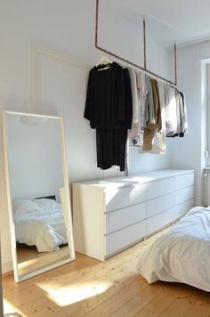 Idea for open wardrobe. Hanging up clothes without wardrobe – hanging clothes rail above the dresser to hang clothes. clothes hanging # The post Idea for open wardrobe. Clothes hanging … appeared first on Woman Casual. Hanging Clothes Rail, Clothes Rail Ikea, Clothes Rack Bedroom, Clothes Racks, Industrial House, Industrial Closet, Industrial Chair, Industrial Farmhouse, Industrial Office