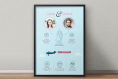 Wedding Infographic – Send personal information and modify up to three infographic elements for the price stated above. Each extra modification is available for an additional $5. If you want to add more information, please check our options for custom made giftographics.