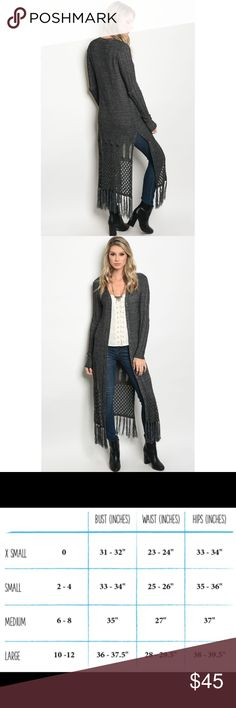 🆕 Charcoal Light Knit Fringe Hem Long Cardigan New with tags. Beautiful and super soft, long sleeve light knit cardigan jacket with fringe hem detailing. Intricate detailing.                                                         🌸70% acrylic, 30% cotton.                                                                ❌SORRY, NO TRADES. The O Boutique Sweaters Cardigans