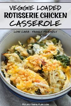 Veggie Loaded Rotisserie Chicken Casserole - exactly what your dinner menu rotation needs! Family friendly, low-carb, and seriously packed with vegetables. It's super easy to modify and makes the best leftovers! Veggie Casserole, Casserole Recipes, Healthy Chicken Casserole, Leftover Chicken Casserole, Shredded Chicken Casserole, Healthy Chicken Recipes, Cooking Recipes, Recipes With Rotisserie Chicken, Keto Recipes