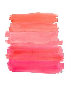 Hot Pink Ombre Dip Dyed Art Watercolor 8x10 by OutsideInArtStudio, $18.00