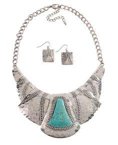 Hammered Silver-Tone Bib Necklace Set