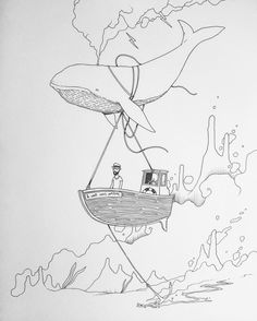 "659 curtidas, 10 comentários - Ignasi Font ™ (@ignasifont) no Instagram: ""le vent nous portera  #handmade #ink #artwork #illustration #whale #love #magic #boat #lonely #art…"""