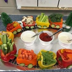 Cute idea for a veggie tray!
