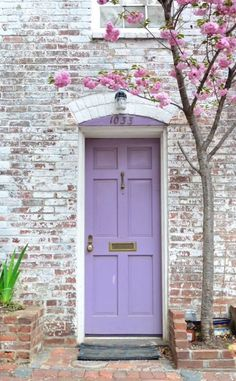 Cherry Blossoms and a Lilac Door | door | | doors | | door decorations | https://steeltablelegs.com