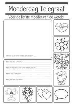 Moederdag Krant Crafts For Boys, Fathers Day Crafts, Craft Projects For Kids, Diy For Kids, Mother And Father, Mother Gifts, Dad Day, Love My Job, Mothers Love