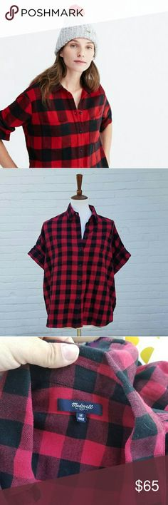 Madewell Short Sleeve Buffalo Check Flannel Like new . Oversized boyfriend fit . Cuffable sleeves . Super soft . Non-stretch . 100% cotton . No trades .  #110206 Madewell Tops Button Down Shirts