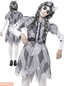 Adults Damaged Doll Costume Ladies Halloween Fancy Dress Womans Outfit | eBay
