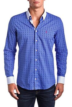 aba19b9c Signature Blue -Slim Fit dress shirt - Blue/White (Red Embroidered Logo)