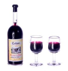 Dollhouse Miniature Assorted Red  Wine on Tray with 2 Filled Glasses  1:12 scale
