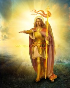 St. Michael Archangel Art Print  by Sandra by ThreeArchangels