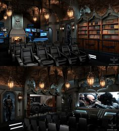 """Dark Knight Themed Home Theater What does it mean when someone is """"stupid rich""""? This is a Dark Knight themed home theater that was built to the tune of two million dollars. Home Theater Design, Home Theater Seating, Home Interior Design, Movie Theater Rooms, Home Cinema Room, Dream Theater, Video Game Rooms, Game Room Design, Luxury Houses"""
