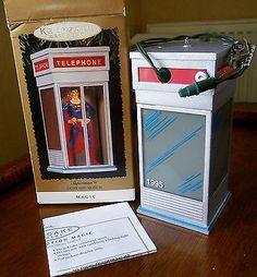 Figurine-electrique-SUPERMAN-dans-sa-cabine-telephonique-1995-HALLMARK