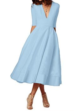 Audrey Bride Deep V Neck Half Sleeves Tea Length One-Piec... https://www.amazon.com/dp/B06WW7BLX7/ref=cm_sw_r_pi_dp_x_uRIZyb0Z5W4CJ