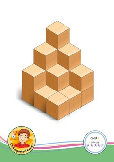 Buiding card difficulty 4 for block area, for kindergarten and preschool, kindergarten. Cube World, Block Area, Busy Boxes, Logic Puzzles, Preschool Math, Math For Kids, Brain Teasers, Building, Cards