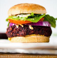 Black & Beet Mushroom-Walnut Veggie Burgers #vegan #vegetarian #recipe