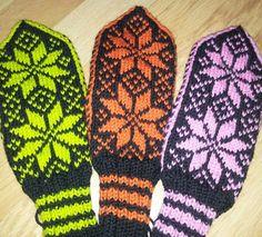 Tradisjonelle votter i utradisjonelle farger. Mitten Gloves, Mittens, Knitting, Google Search, Projects, Fingerless Mitts, Tricot, Breien, Fingerless Mittens
