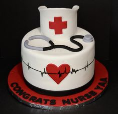 Nurse Graduation Cake by Cecy Huezo. Nurse Graduation Cake by Cecy Huezo. Nursing Graduation Cakes, Graduation Party Themes, Fondant Cakes, Cupcake Cakes, Cupcakes, Medical Cake, Doctor Cake, Bolo Floral, Nurse Party