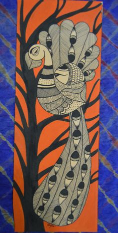 Mithila styled artwork Peacock on tree by MeghaArtlife on Etsy