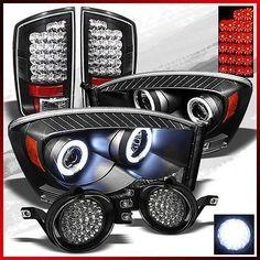 OnlyTheBest Fits 07-08 Ram BLK Projector Headlights +blk Red LED Tail Lights +led Fog Lights