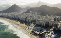 Copacabana, Brazil, with its beach volleyball arena built for the Olympics.