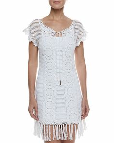 Banana Leaf Crochet Coverup & Formfitting Camisole Slip by Letarte at Neiman Marcus.
